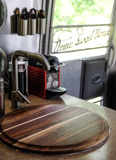 Custom sink-top cutting board for the Airstream from Turnco Wood Goods