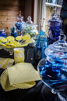 Van Gogh Starry Night Bridal Shower Theme - blue and yellow candy table @Meg