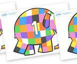Elmer Numbers Primary Resources, Elmer the elephant, Elmer story