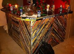 Hockey bar in man cave Hockey Man Cave, Hockey Room, Man Cave Bar, Men Cave, Hockey Crafts, Hockey Decor, Man Cave Basement, Man Cave Garage, Quotes Girlfriend