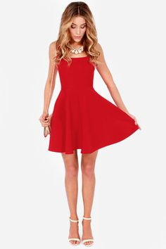 The Home Before Daylight Red Dress is the perfect party companion! Knit tank straps support a stunning bodice with a sexy square neckline and scoop back. Pretty Outfits, Pretty Dresses, Beautiful Dresses, Casual Dresses, Short Dresses, Fashion Dresses, Red Dress Casual, Fashion Shoes, Dress Formal
