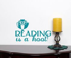 12 X 6 Reading is a hoot vinyl wall decal by HouseHoldWords