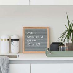Letterbord S eik-grijs vilt - merk Funkk - Felt letterboard FUNKK