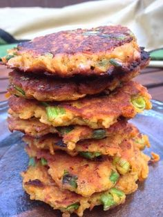 Sweet Potato Fritters   Planks, Love , and Guacamole - I changed this up and use white sweet potatoes and almond flour instead of coconut for a not-so-sweet version.  Love these!