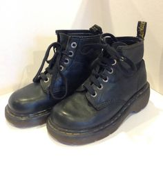 Dr Martens black boots square toe vintage Size 37 by Fleagleeattic
