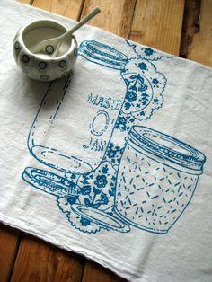 TeaTowel  Screen Printed Organic Cotton Mason by ohlittlerabbit, $10.00