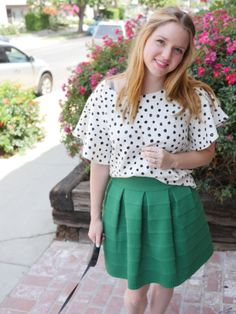 Married and Bright: Pretty Pink Pout. Polka dot anthropologie blouse, green elastic skirt, ugly cute sandals, and a pink enamel locket.