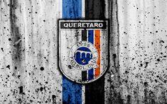 Download wallpapers 4k, FC Queretaro, grunge, Liga MX, soccer, art, Primera Division, football club, Mexico, Queretaro, stone texture, Queretaro FC