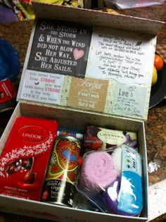sunshine box, get better, get well, feel better, pick me up, quotes, chocolate, fuzzy socks, tea bags, etc