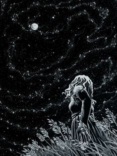 Summer Night ~ by artist AkagenoSaru - technical pen with white ink on black paper (stars, moon, art, illustration) Art And Illustration, Ink Illustrations, Storyboard Illustrations, Wow Art, Summer Nights, Oeuvre D'art, Night Skies, Sky Night, Dream Night