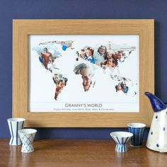 Personalised 'Granny's World' Photograph Map. The perfect gift for grandmothers - remind her of special moments with photos of her grandkids, or of meaningful events from her life. Whether for Mother's Day or a special birthday gift, this beautiful print will take pride of place on her mantelpiece. www.helloruth.co.uk