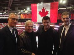 Look who came to the last Flyers home game! It's actor David Boreanaz and his father, local TV anchor, Dave Roberts.