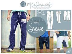 ★ seine SVERRE ★ ist eine lässige Hose, die durch ihre Unterteilung und den leicht O-Bein-förmigen Schnitt besticht. Für den Sommer oder zum Sport kann die Hose auch als Shorts oder dreiviertellang...