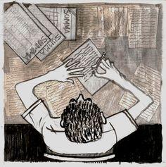 ALBERTO PETRINA .......................... by RAMIRO QUESADA :   EL ARQUITECTO ALBERTO PETRINA EN LA MESA DE REDACCION DE LA REVISTA SUMMA  autor: RAMIRO QUESADA  técnica: mixta   dimensiones: 15,8 CM por 15,8 CM   | quesadaramiro