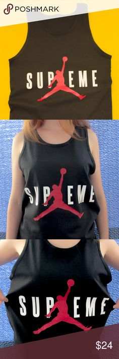 Supreme Michael Jordan Tank Top -Men & Women Sizes avail, just let me know which one you'd like. -Printed on 100% Cotton -Fan Made (not authentic, but rad as hell) Shirts Tank Tops