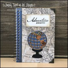 Altered Composition Notebooks, Cool Notebooks, Journals, Map Globe, Stamping Up Cards, Graduation Cards, Masculine Cards, Cute Cards, Craft Fairs