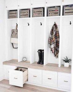 Mudroom Cubbies, Mudroom Laundry Room, Laundry Room Design, Mud Room Lockers, Room Closet, Home Living, White Trim, Home Decor Inspiration, Building A House