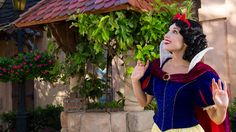 Meet Snow White in Germany (Epcot). A wishing well on the outskirts of this charming hamlet is a favorite spot of the fairest one of all.