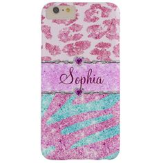 Pink Glitter Monogram Leopard Teal Zebra Stripes Barely There iPhone 6 Plus Case