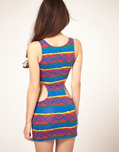 Enlarge ASOS Tunic Cut Out Side Vest In Bright Tile Print