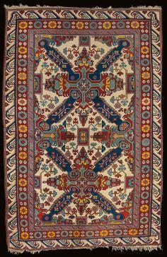 "Early 20th century Northern Hillside Kuba rug, Azerbaijan. ""Seychour"" design."