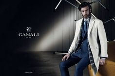 Canali Fall look. Luxury.. Grey Overcoat. Blue suit.