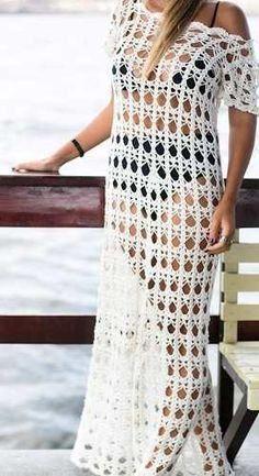 Ideas For Crochet Skirt Long Charts Col Crochet, Crochet Cover Up, Crochet Tunic, Crochet Woman, Crochet Clothes, Crochet Dresses, Bikinis Crochet, Beach Crochet, Clothing Patterns