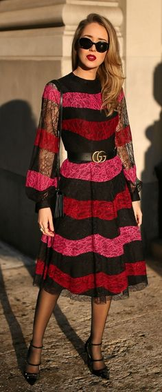 Black, pink, and red striped lace midi dress, black waist belt, black velvet shoulder bag, sheer tights, black double strap Mary Jane pumps, black sunglasses, vintage earrings {Chanel, Gucci, Jimmy Choo, red lips, holiday style, what to wear, festive outf #jimmychooheelssparkle #jimmychooheelspink