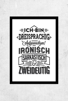 """""""DREISPRACHIG""""   Typo Poster   Größe L von RTF*P auf DaWanda.com"""