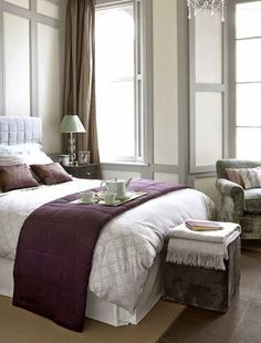 The colours we like for the bedroom. Purple accent wall = head of ...