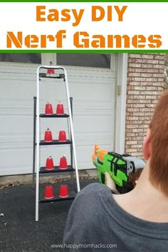 Diy Outdoor Birthday Party Games, Kids Party Games Indoor, Birthday Party Games Indoor, Boy Party Games, Nerf Birthday Party, Birthday Party Games For Kids, Nerf Party, Outdoor Games For Kids, Carnival Birthday Parties
