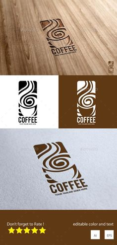 Interesting AI Coffee Logo Design  Template • Only available here ➝ http://graphicriver.net/item/coffee-logo-design/16465869?ref=pxcr