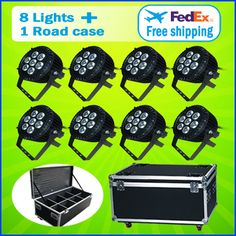 8 Lights + 1 Flight Case  7*15W RGBWA 5IN1 Outdoor Led Par Cans Light Led Par 64 Led 7x15 DMX Led Par Stage Lighting Effect