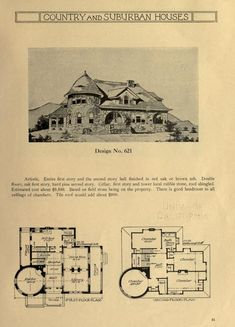 Country and suburban houses; a collection of exterior and interior sketches with floor plans for houses in the colonial, artistic, half-timber, stucco cement and other styles of architecture . Vintage House Plans, New House Plans, House Floor Plans, Building Plans, Building A House, Architectural House Plans, Suburban House, Plan Drawing, Interior Sketch