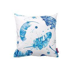Mavi Tüy Beyaz Dekoratif Yastık Kılıfı