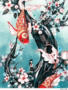 """Koi - tat inspiration with quote """"Only dead fish swim with the current"""" and strength symbol on fish forehead (colors: black, white, fuscia, teal) Japanese Theme, Japanese Prints, Japanese Art, Japanese Sleeve, Sailor Illustration, Japanese Illustration, Koi Art, Fish Art, Coy Fish"""