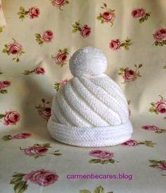 TUTORIAL.  Gorro de lana para bebe. ( tejido dos agujas) carmenbecares.blogspot.com