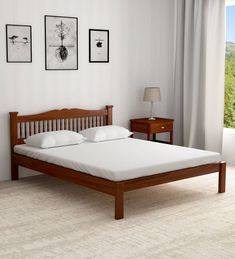 Buy Uttara Solid Wood King Size Bed in Provincial Teak Finish by Mudramark Online - Traditional King Size Beds - Beds - Furniture - Pepperfry Product Latest Wooden Bed Designs, Simple Bed Designs, Wooden Sofa Designs, Wood Bed Design, Bedroom Bed Design, Modern Wooden Bed, Single Wooden Beds, Wooden King Size Bed, White Wooden Bed