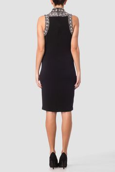 Joseph Ribkoff's halter-style bodycon dress has a snug fit with rear-zip closure and high neckline with silver sequined detail and sleeveless construction. Fall Dresses, Short Dresses, Dresses For Work, Sequin Dress, Bodycon Dress, Joseph Ribkoff Dresses, Snug Fit, Fashion Dresses, Sequins