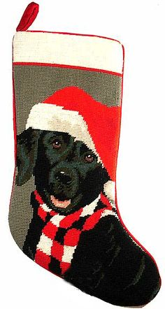 We think every pooch deserves a spot on the mantel and is certainly a part of the family! Done in 100% wool needlepoint, this stocking is backed and piped in bright red velvet. With plenty of room for