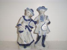VINTAGE Cobalt BLUE Gold  And WHITE 1800's by ShopOfCraftsByMyrna, $35.00