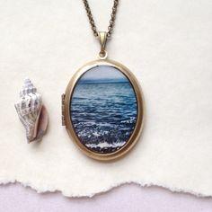 Ocean Waves Locket  Blue Sea Fine Art Photo Brass by Lothirielle