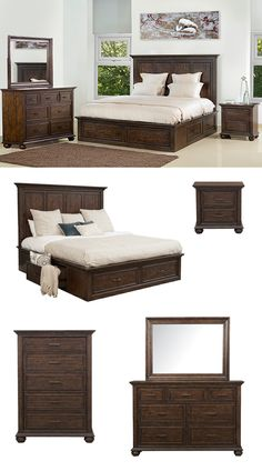 The crowning piece to an elegant bedroom look, this grand-scaled wooden storage bed is designed with a trio of framed panels for visual dimension and interest. Fancy face veneers bring out unique characteristics in natural wood grain, giving this attractive bed depth and a compelling finish. Browse our large selection of storage bedroom furniture online or in-store at Great American Home Store in Memphis, TN, and Southaven, MS. #shopgahs #bedroom #bedroomfurniture #storagebed #nightstand #bed