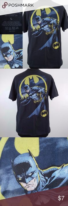 """DC Comics Batman Black T-shirt Mens Large This DC Comics Batman t-shirt is a men's size Large. See measurements for your best fit.  CONDITION: Gently used, shows light fade from washing, light wear, see pics MEASUREMENTS: all taken with garment laid flat  shoulder to shoulder: 19"""" chest from armpit to armpit:  20""""x2=40"""" back of neck to bottom hem:  25"""" shoulder seam to cuff:  7.5"""" DC Comics Shirts Tees - Short Sleeve"""