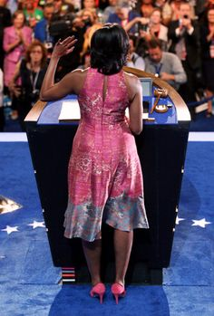 Michelle's pink dress and shoe