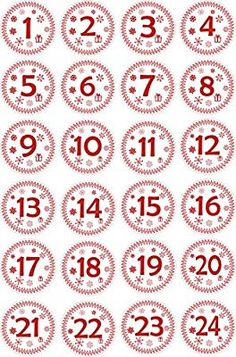 Amazon.com: INDIGOS UG - Advent Calendar Numbers Stickers 1 to 24 - white - red Vintage - Labels - Sticker - Christmas Calendar - Advent - Round - DIY - to stick on: Home & Kitchen