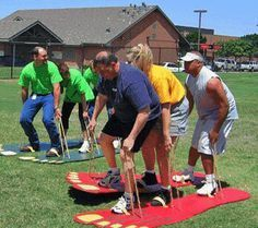 """Omg how fun does this look!! [   """"Giant foot yard game. This looks like it would be so fun! Great idea for family reunion or youth group. This would go great with the story of David & GOLIATH. Note: be sure to instruct players to put feet inside rope handles."""",   """"DIY slideshow on building one"""