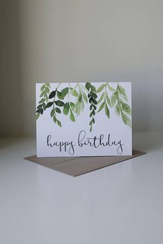 Happy Birthday Card, Ivy Birthday Card, Watercolor Card, Pretty Birthday Card, Simple Birthday Card, Neutral Birthday Card, Leaves and Stems  All greeting cards are 5.5 x 4.25 and come with a kraft envelope. The card is blank inside so you can personalize your own message. This