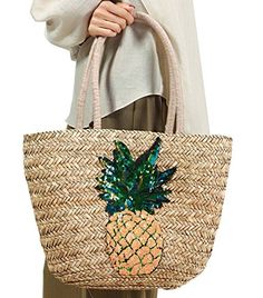 FOR U DESIGNS Women s Pineapple Straw Summer Boho Beach Bag Shoulder Bag  Tote Handbag With Sequins c182481371