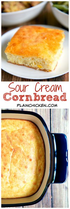 Sour Cream Cornbread Recipe - only 5 ingredients! Ready in 30 minutes! This is seriously THE BEST cornbread recipe! SO delicious and super easy! Creamed Corn Cornbread, Sour Cream Cornbread, Best Cornbread Recipe, Cornbread Salad, Sweet Cornbread, Savoury Baking, Bread Baking, Cream Corn Bread, Fruit Dishes